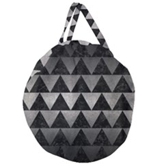 Triangle2 Black Marble & Gray Metal 1 Giant Round Zipper Tote by trendistuff