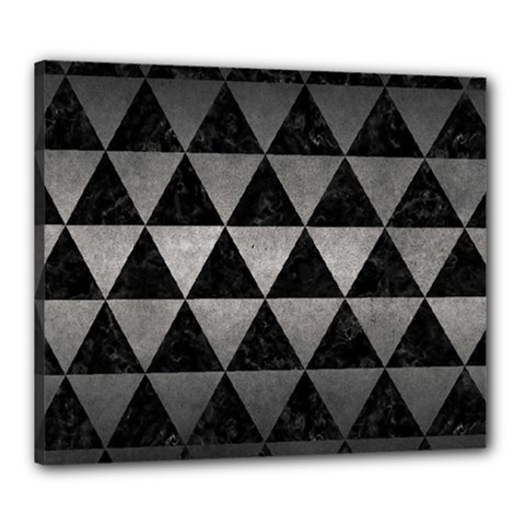 Triangle3 Black Marble & Gray Metal 1 Canvas 24  X 20  by trendistuff