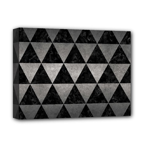 Triangle3 Black Marble & Gray Metal 1 Deluxe Canvas 16  X 12   by trendistuff