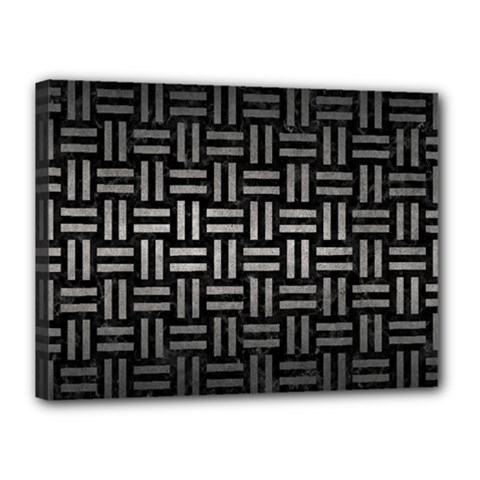 Woven1 Black Marble & Gray Metal 1 Canvas 16  X 12  by trendistuff