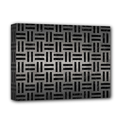 Woven1 Black Marble & Gray Metal 1 (r) Deluxe Canvas 16  X 12   by trendistuff