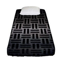 Woven1 Black Marble & Gray Metal 1 (r) Fitted Sheet (single Size) by trendistuff