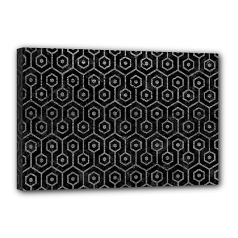 Hexagon1 Black Marble & Gray Leather Canvas 18  X 12  by trendistuff