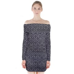 Hexagon1 Black Marble & Gray Leather (r) Long Sleeve Off Shoulder Dress