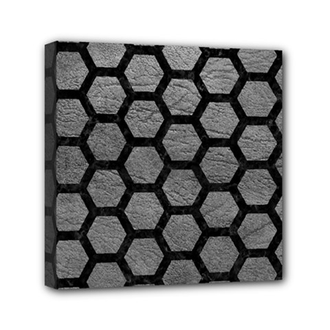 Hexagon2 Black Marble & Gray Leather (r) Mini Canvas 6  X 6  by trendistuff