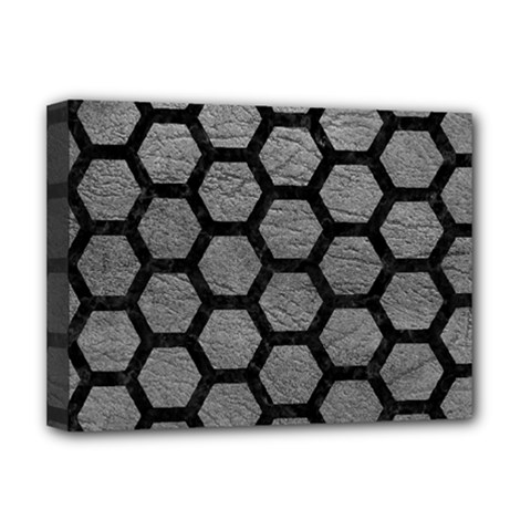 Hexagon2 Black Marble & Gray Leather (r) Deluxe Canvas 16  X 12   by trendistuff