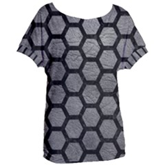 Hexagon2 Black Marble & Gray Leather (r) Women s Oversized Tee