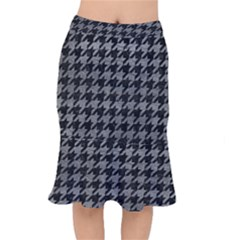 Houndstooth1 Black Marble & Gray Leather Mermaid Skirt by trendistuff