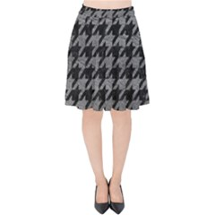 Houndstooth1 Black Marble & Gray Leather Velvet High Waist Skirt by trendistuff