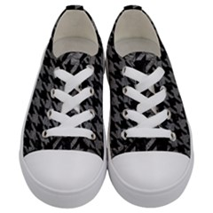 Houndstooth1 Black Marble & Gray Leather Kids  Low Top Canvas Sneakers