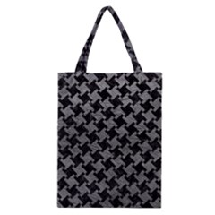 Houndstooth2 Black Marble & Gray Leather Classic Tote Bag by trendistuff