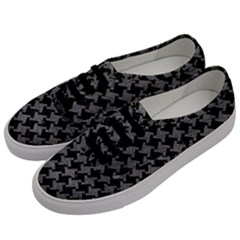 Houndstooth2 Black Marble & Gray Leather Men s Classic Low Top Sneakers by trendistuff