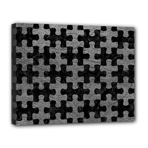Puzzle1 Black Marble & Gray Leather Canvas 14  X 11  by trendistuff