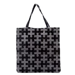 Puzzle1 Black Marble & Gray Leather Grocery Tote Bag by trendistuff