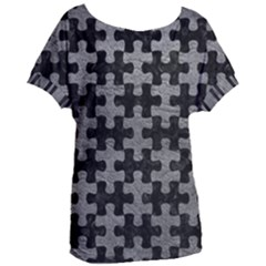 Puzzle1 Black Marble & Gray Leather Women s Oversized Tee