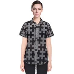 Puzzle1 Black Marble & Gray Leather Women s Short Sleeve Shirt