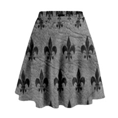 Royal1 Black Marble & Gray Leather High Waist Skirt by trendistuff