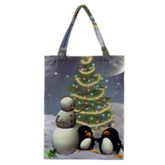 Funny Snowman With Penguin And Christmas Tree Classic Tote Bag by FantasyWorld7