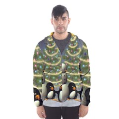 Funny Snowman With Penguin And Christmas Tree Hooded Wind Breaker (men) by FantasyWorld7