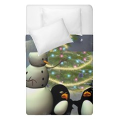 Funny Snowman With Penguin And Christmas Tree Duvet Cover Double Side (single Size) by FantasyWorld7