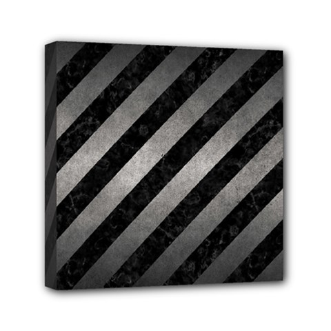 Stripes3 Black Marble & Gray Metal 1 Mini Canvas 6  X 6  by trendistuff