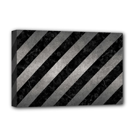 Stripes3 Black Marble & Gray Metal 1 Deluxe Canvas 18  X 12   by trendistuff