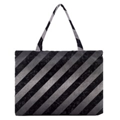 Stripes3 Black Marble & Gray Metal 1 Zipper Medium Tote Bag by trendistuff