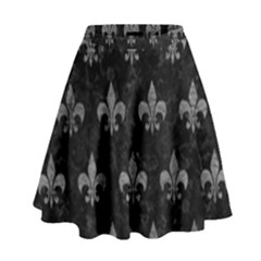 Royal1 Black Marble & Gray Leather (r) High Waist Skirt by trendistuff