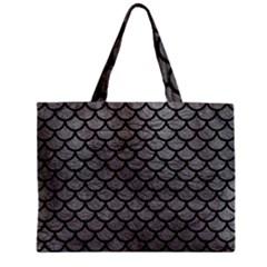Scales1 Black Marble & Gray Leather (r) Zipper Mini Tote Bag by trendistuff