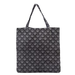 Scales2 Black Marble & Gray Leather (r) Grocery Tote Bag by trendistuff