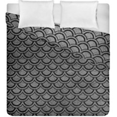 Scales2 Black Marble & Gray Leather (r) Duvet Cover Double Side (king Size) by trendistuff