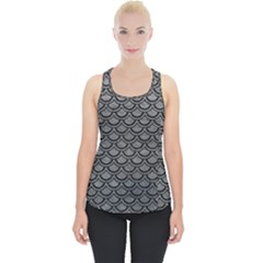 Scales2 Black Marble & Gray Leather (r) Piece Up Tank Top