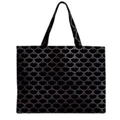 Scales3 Black Marble & Gray Leather Zipper Mini Tote Bag by trendistuff