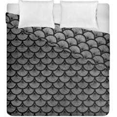 Scales3 Black Marble & Gray Leather (r) Duvet Cover Double Side (king Size) by trendistuff