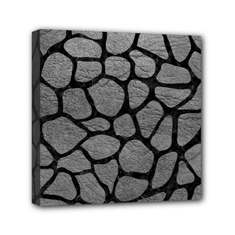 SKIN1 BLACK MARBLE & GRAY LEATHER Mini Canvas 6  x 6