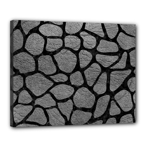 Skin1 Black Marble & Gray Leather Canvas 20  X 16  by trendistuff