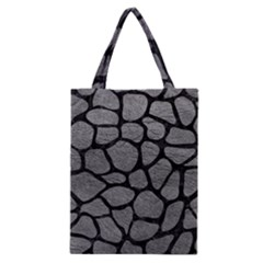 Skin1 Black Marble & Gray Leather Classic Tote Bag by trendistuff