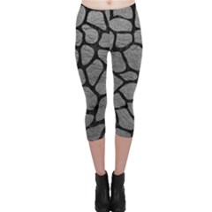 Skin1 Black Marble & Gray Leather Capri Leggings  by trendistuff