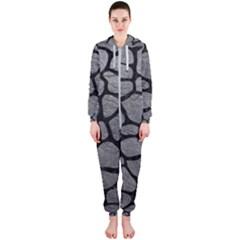 SKIN1 BLACK MARBLE & GRAY LEATHER Hooded Jumpsuit (Ladies)