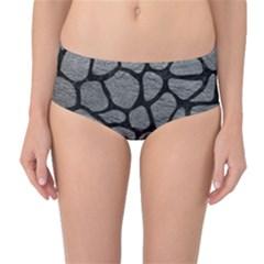 SKIN1 BLACK MARBLE & GRAY LEATHER Mid-Waist Bikini Bottoms