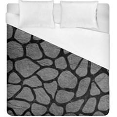 SKIN1 BLACK MARBLE & GRAY LEATHER Duvet Cover (King Size)