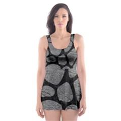 SKIN1 BLACK MARBLE & GRAY LEATHER Skater Dress Swimsuit