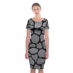 SKIN1 BLACK MARBLE & GRAY LEATHER Classic Short Sleeve Midi Dress