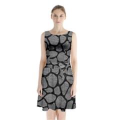 SKIN1 BLACK MARBLE & GRAY LEATHER Sleeveless Waist Tie Chiffon Dress