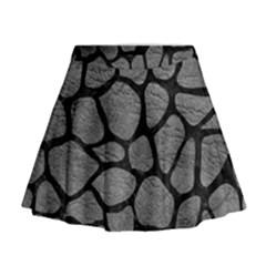 SKIN1 BLACK MARBLE & GRAY LEATHER Mini Flare Skirt