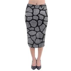SKIN1 BLACK MARBLE & GRAY LEATHER Midi Pencil Skirt