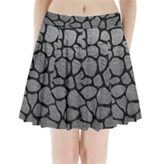 SKIN1 BLACK MARBLE & GRAY LEATHER Pleated Mini Skirt