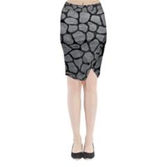 SKIN1 BLACK MARBLE & GRAY LEATHER Midi Wrap Pencil Skirt