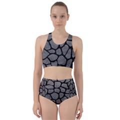 SKIN1 BLACK MARBLE & GRAY LEATHER Racer Back Bikini Set