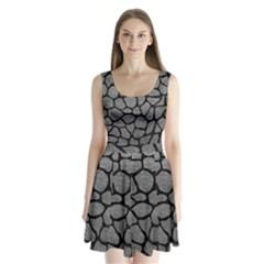 SKIN1 BLACK MARBLE & GRAY LEATHER Split Back Mini Dress